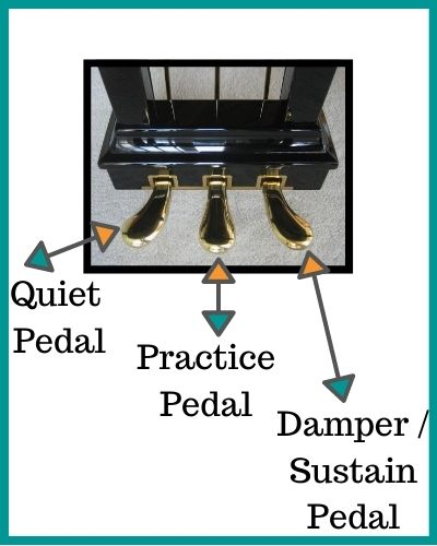 What the 3 pedals are: quiet, practice and sustain pedals