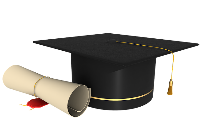 Diploma and graduation hat